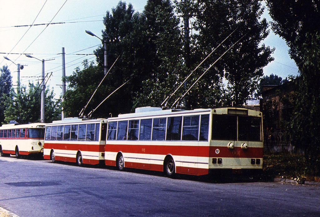 Киев. Škoda 14TrS №001, Škoda 14Tr0 №002, Škoda 9Tr13 №672