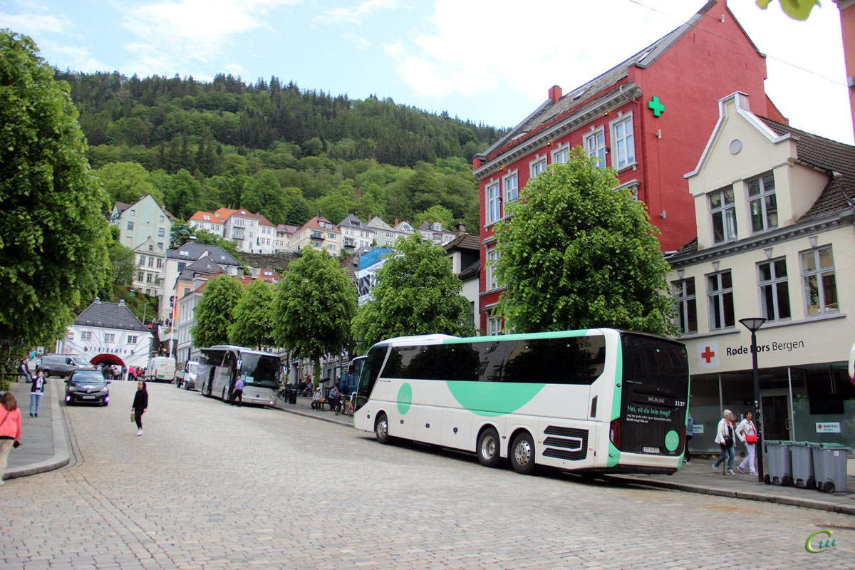 Берген. MAN R08 Lion's Coach L DR 64015, Mercedes-Benz Tourismo SV 51271