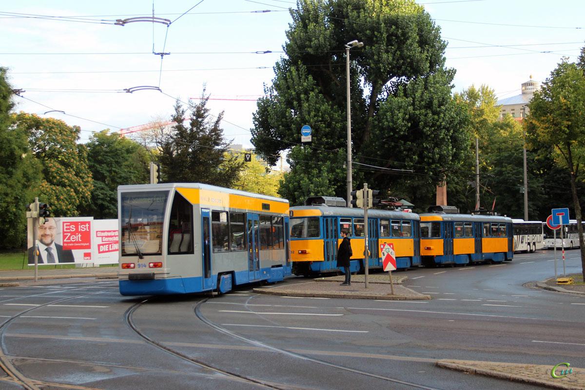 Лейпциг. Tatra T4D-M1 №2101, Bombardier NB4 №914, Tatra T4D-M1 №2132