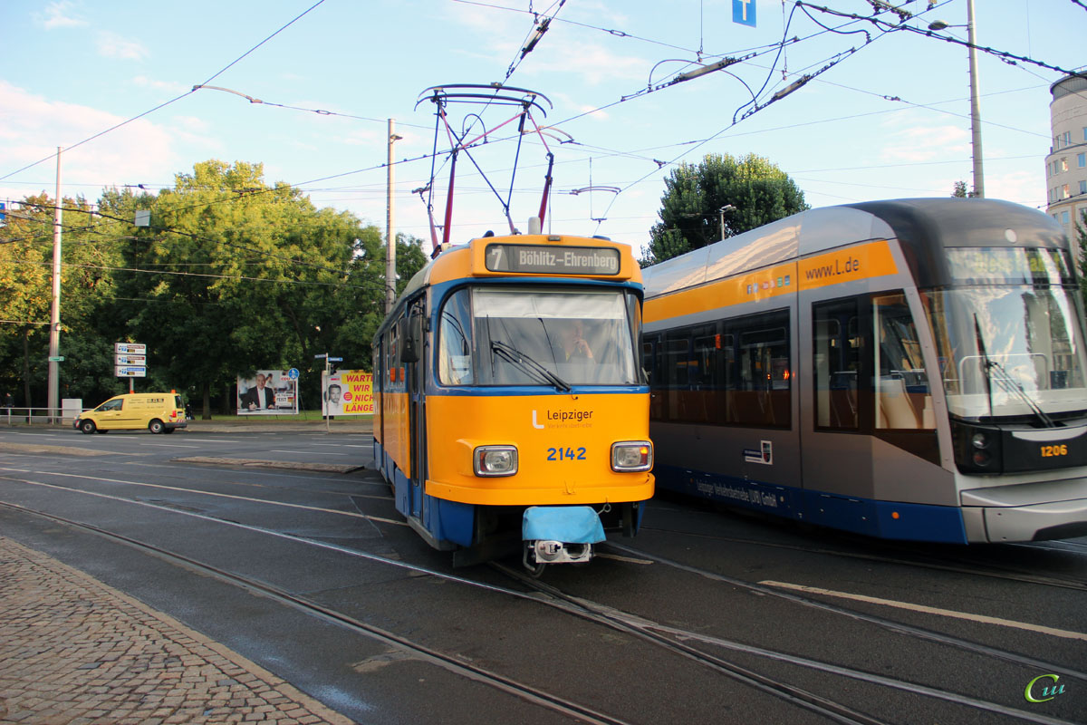 Лейпциг. Bombardier NGT12-LEI №1206, Tatra T4D-M1 №2142