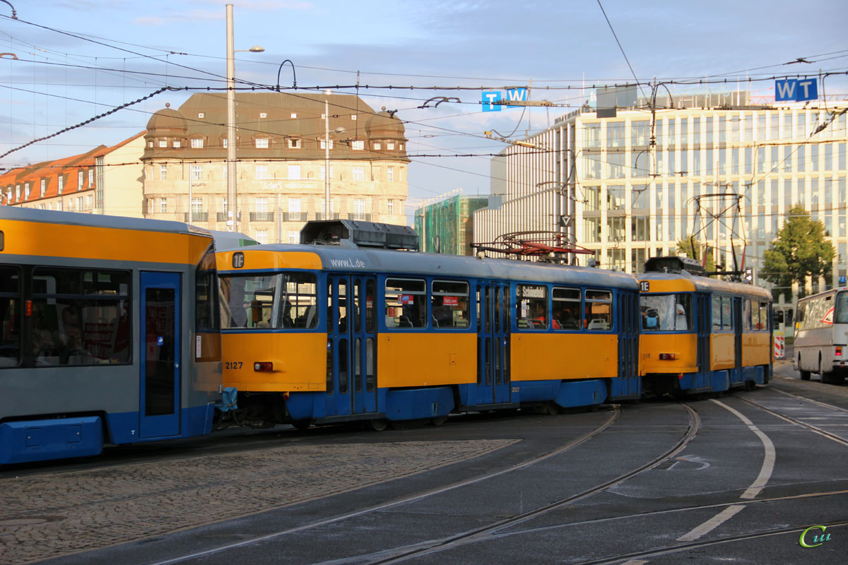 Лейпциг. Bombardier NB4 №908, Tatra T4D-M1 №2127, Tatra T4D-M1 №2131