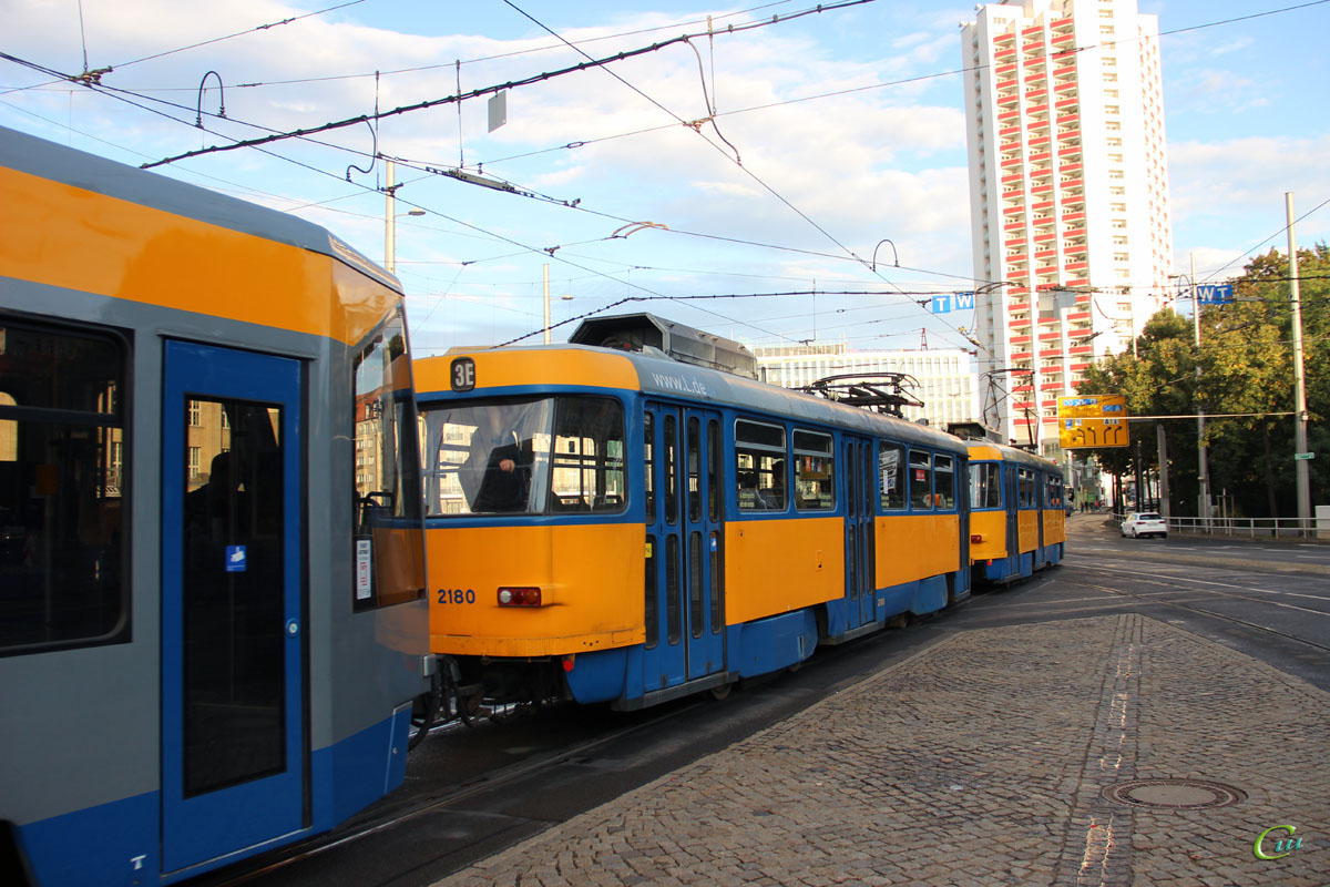 Лейпциг. Bombardier NB4 №907, Tatra T4D-M1 №2180