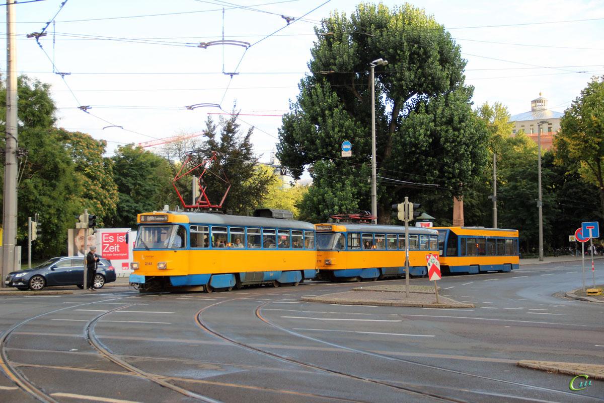 Лейпциг. Bombardier 4NBWE №943, Tatra T4D-M2 №2072, Tatra T4D-M1 №2141