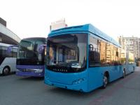 Челябинск. Городской сочленённый и междугородний автобусы на выставке транспорта перед ледовой ареной Трактор