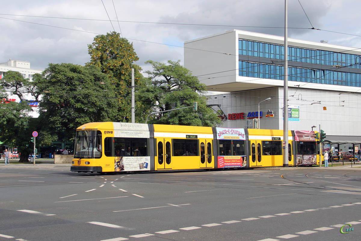 Дрезден. SachsenTram NGT6DD №2591