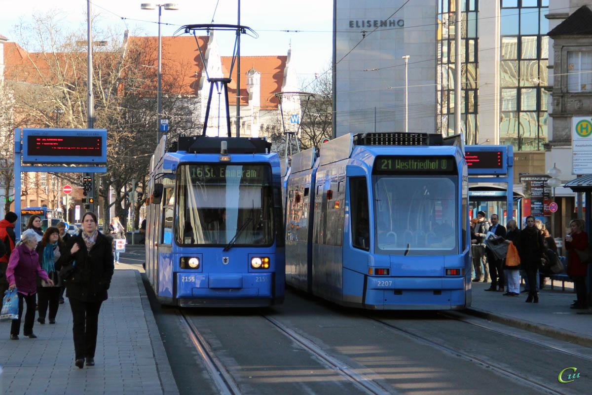 Мюнхен. Adtranz R2.2 №2155, Adtranz R3.3 №2207