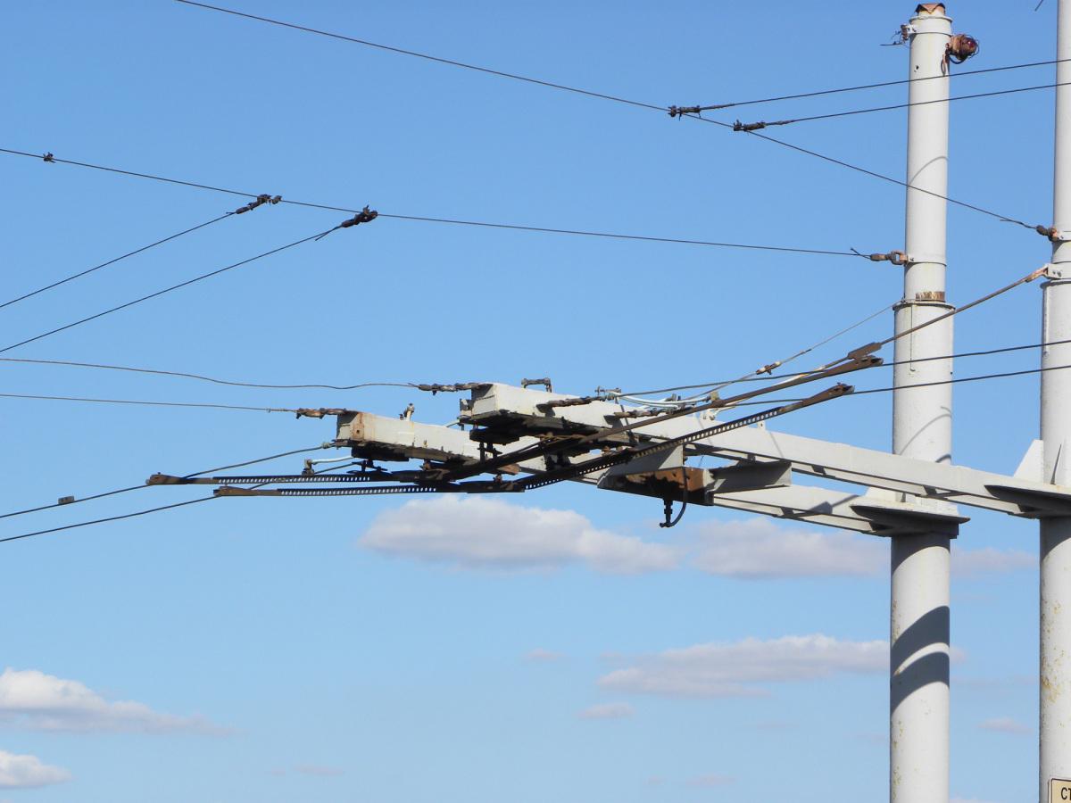 Николаев. Троллейбусная контактная сеть на разводном Ингульском мосту